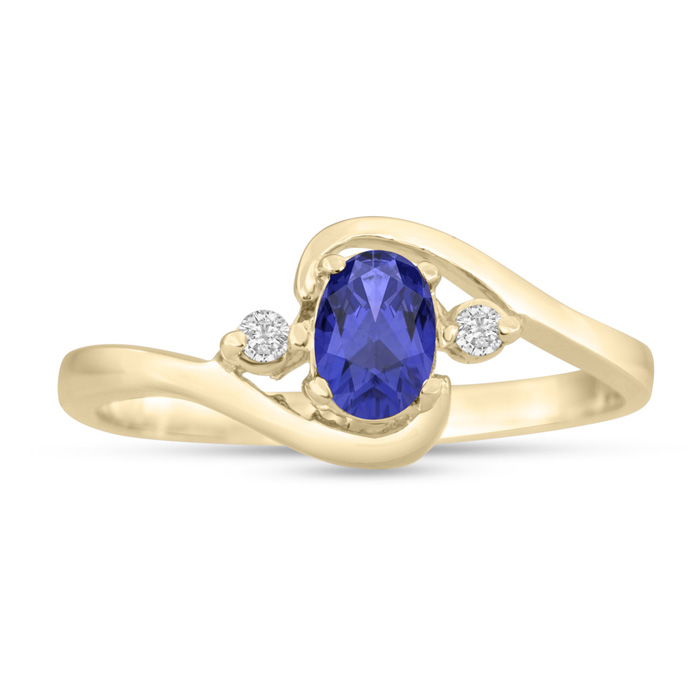 1/2ct Tanzanite and Diamond Ring In 14K Yellow Gold