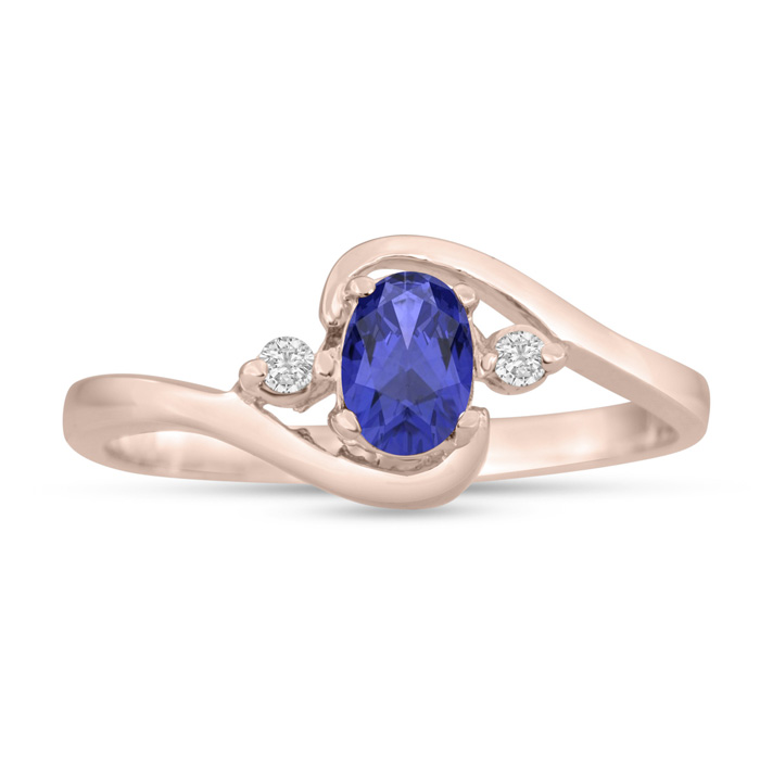 1/2ct Tanzanite and Diamond Ring In 14K Rose Gold