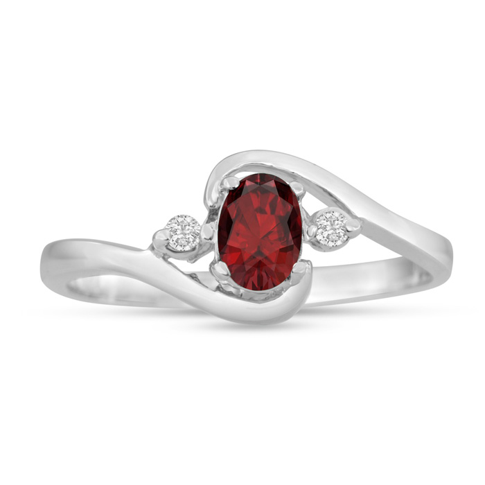 1/2ct Garnet and Diamond Ring In 14K White Gold