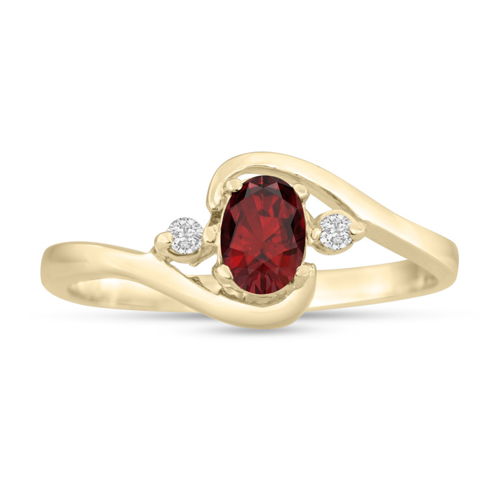 1/2ct Garnet and Diamond Ring In 14K Yellow Gold