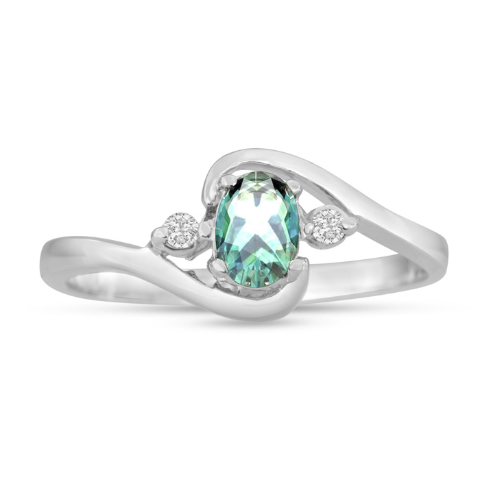 1/2ct Green Amethyst and Diamond Ring In 14K White Gold