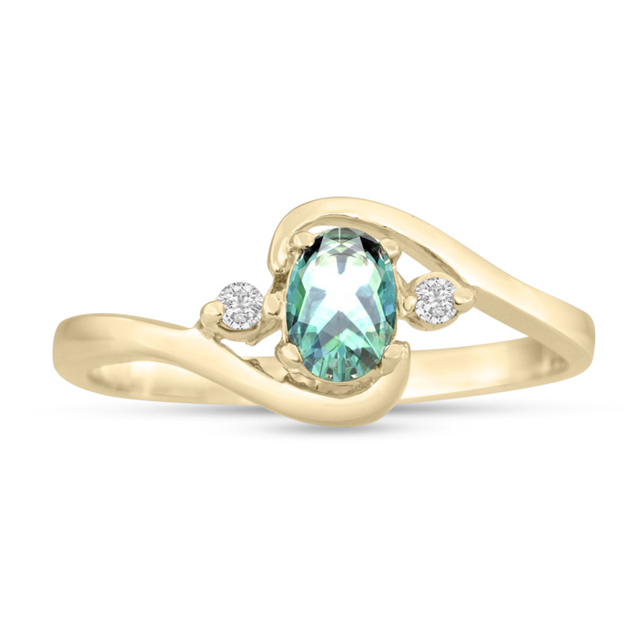 1/2ct Green Amethyst and Diamond Ring In 14K Yellow Gold