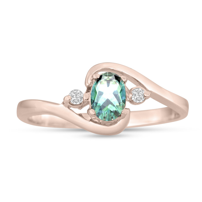1/2ct Green Amethyst and Diamond Ring In 14K Rose Gold