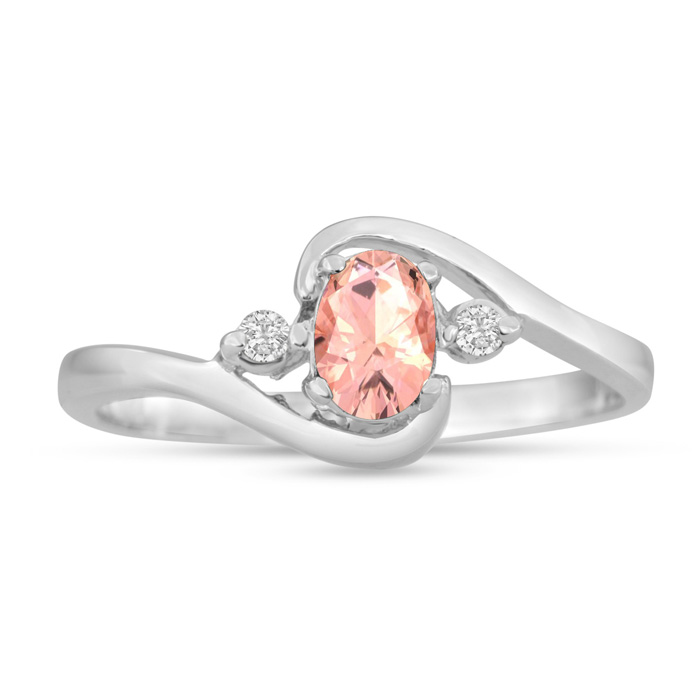 1/2ct Morganite and Diamond Ring In 14K White Gold