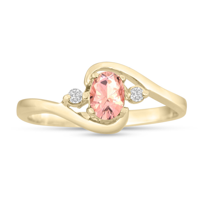 1/2ct Morganite and Diamond Ring In 14K Yellow Gold