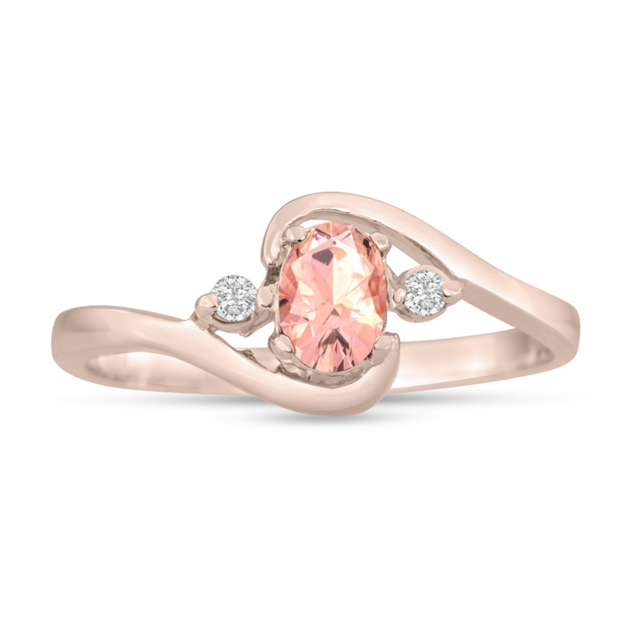 1/2ct Morganite and Diamond Ring In 14K Rose Gold