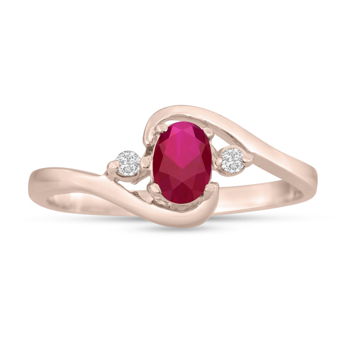 1/2ct Ruby and Diamond Ring In 14K Rose Gold