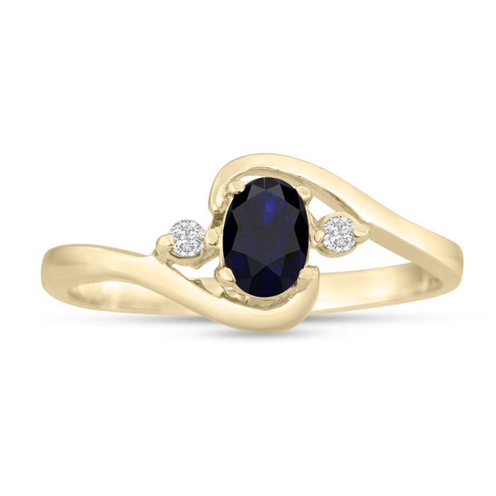 1/2ct Sapphire and Diamond Ring In 14K Yellow Gold