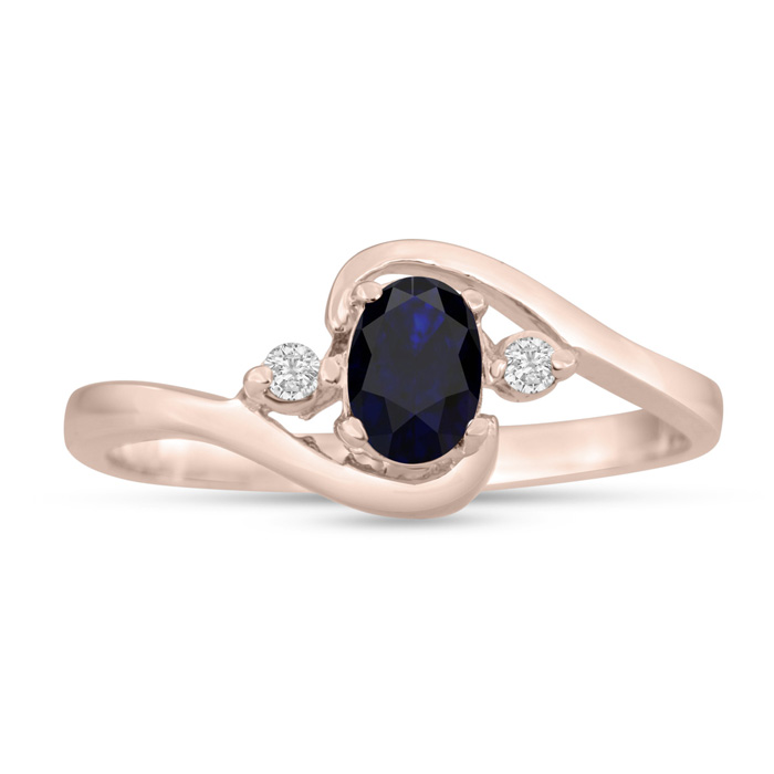 1/2ct Sapphire and Diamond Ring In 14K Rose Gold