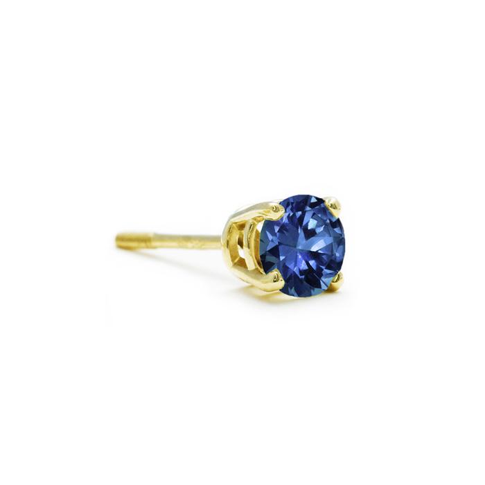1/4ct Blue Diamond Stud Earrings In 14k Yellow Gold Single Stud Only