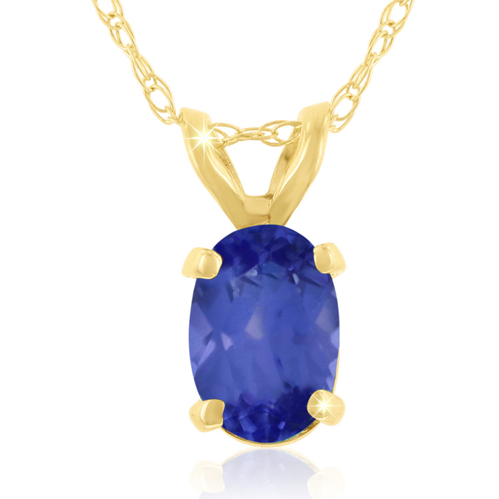 .40ct Oval Shaped Tanzanite Pendant in 14k Yellow Gold, 18 Inches