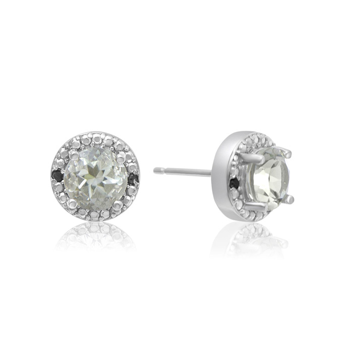 1 1/2 Carat Green Amethyst And Black Diamond Halo Stud Earrings In Sterling Silver