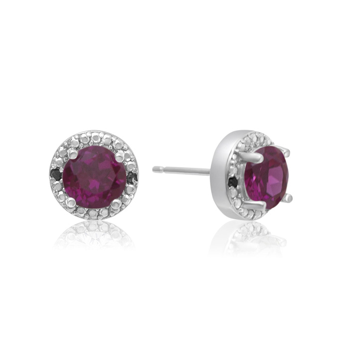 1 1/2 Carat Ruby And Black Diamond Halo Stud Earrings In Sterling Silver