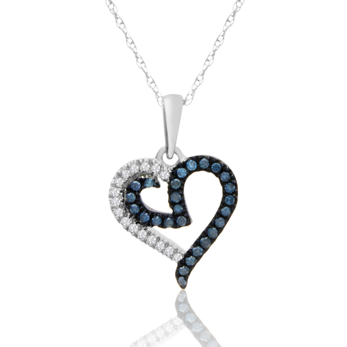 0.15 Carat Blue And White Diamond Heart Necklace In White Gold
