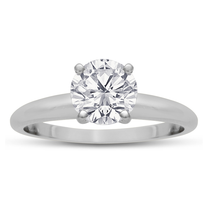 1ct Round Diamond Solitaire in 14k White Gold, Clarity Enhanced   6 PRONG SETTING