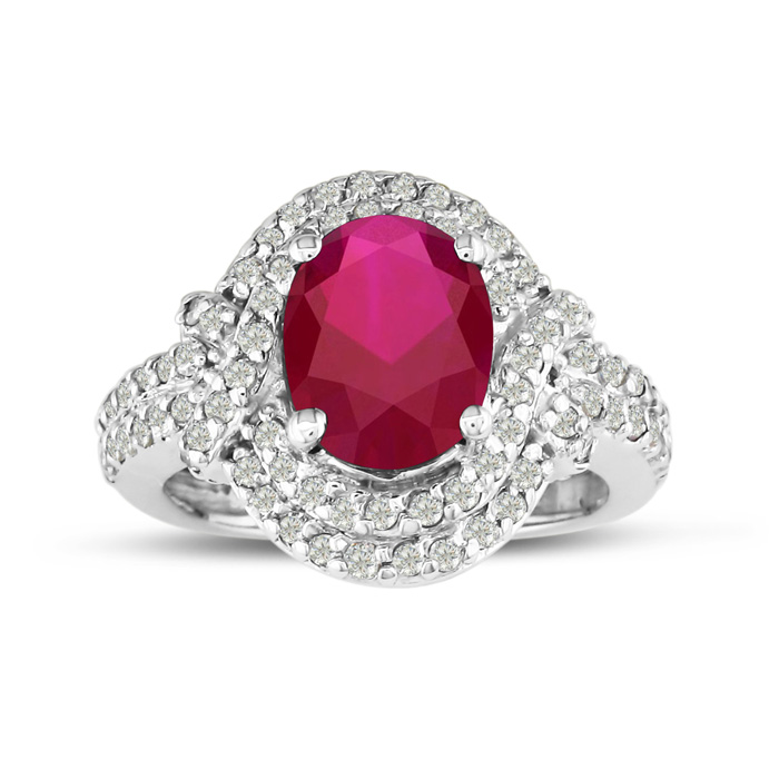 Mastercrafted Impressive 3 Carat Ruby And Diamond Ring In 14 Karat White Gold