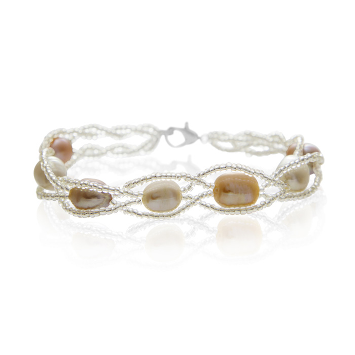 jewelpearl.com 8mm Freshwater Cultured Pearl and Braided Bead Bracelet