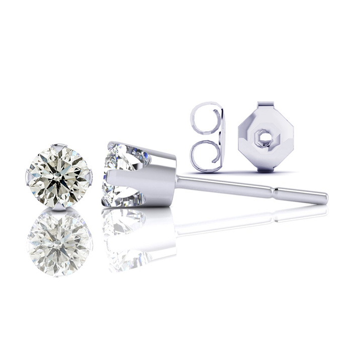 Nearly 1/2ct Diamond Stud Earrings in 14k White Gold. Special Gold With Silicone Comfort Back. You Will Love Them!