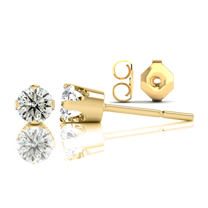 Nearly 1/2ct Diamond Stud Earrings in 14k Yellow Gold. Special Gold With Silicone Comfort Back. You Will Love Them!