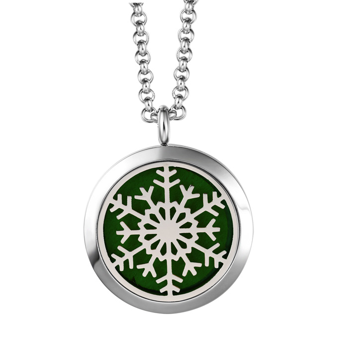 Hypoallergenic Snowflake Aromatherapy Essential Oils Diffuser Necklace, Pure..