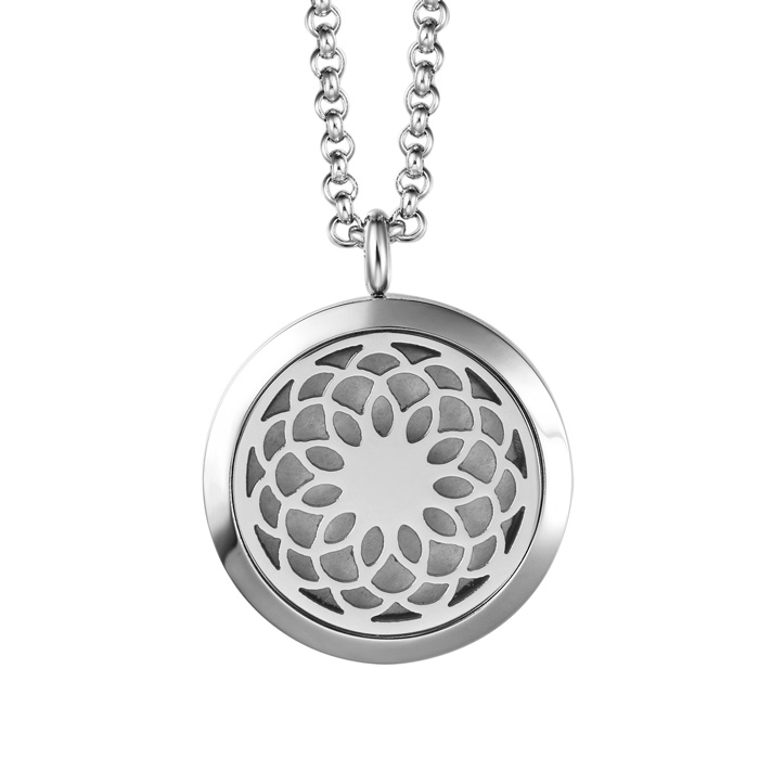 Hypoallergenic Flower Aromatherapy Essential Oils Diffuser Necklace, Pure St..