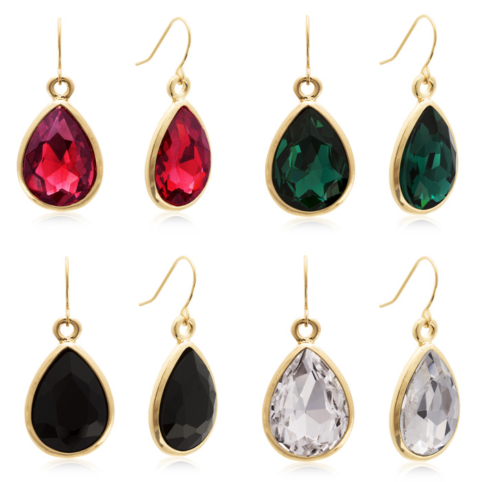 Perfect for Valentine's Day! 4 Sets of Crystal Drop Earrings