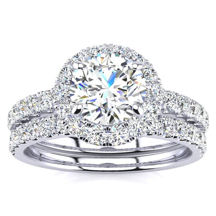 2 Carat Round Cut Diamond Bridal Set With 1 Carat Center Diamond in 14k Whit..