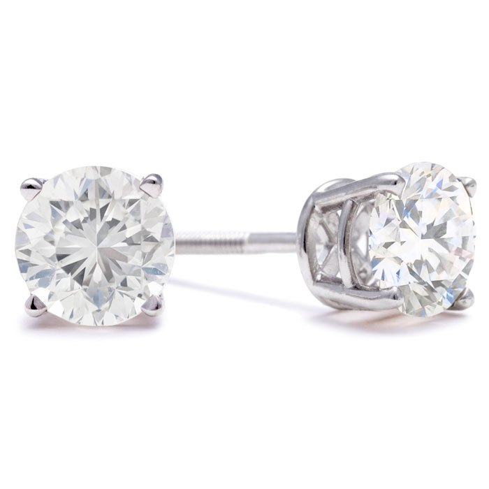 2ct Diamond Stud Earrings In 14k White Gold Martini Setting