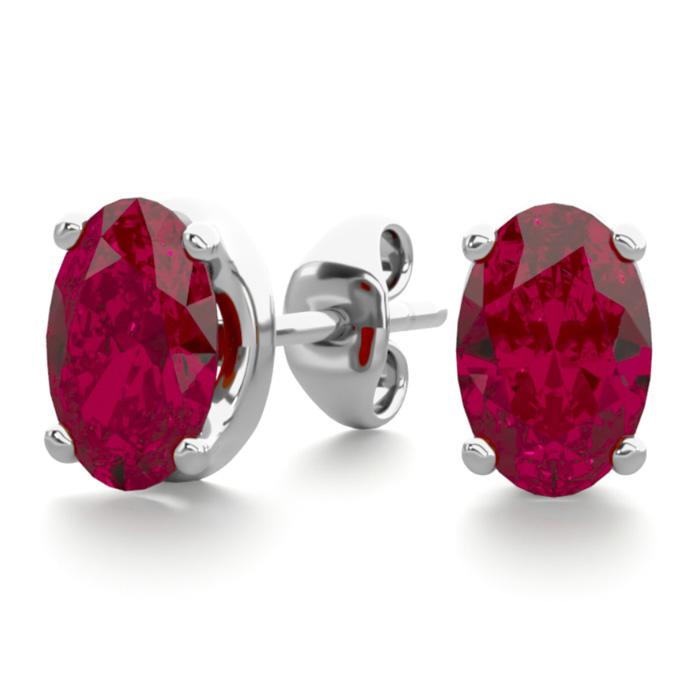 1 Carat Oval Shape Ruby Stud Earrings In Sterling Silver