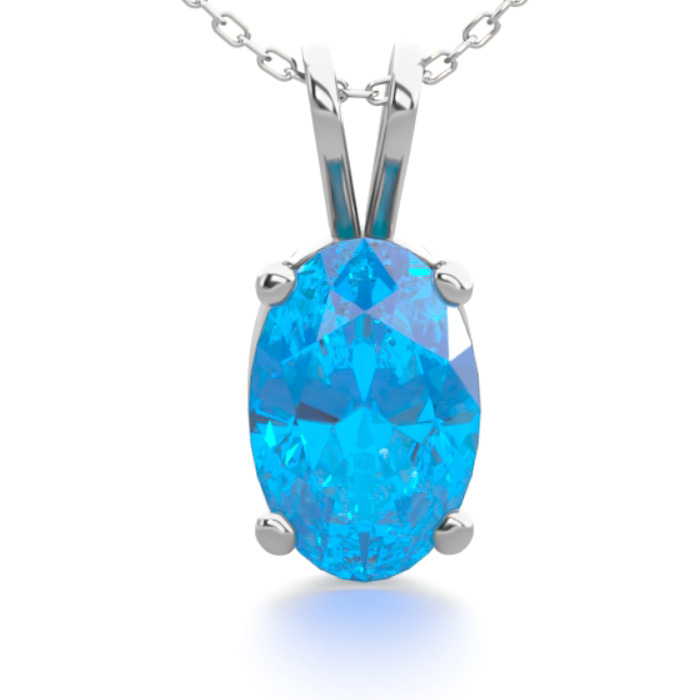 1/2 Carat Oval Shape Blue Topaz Necklace In Sterling Silver, 18 Inches