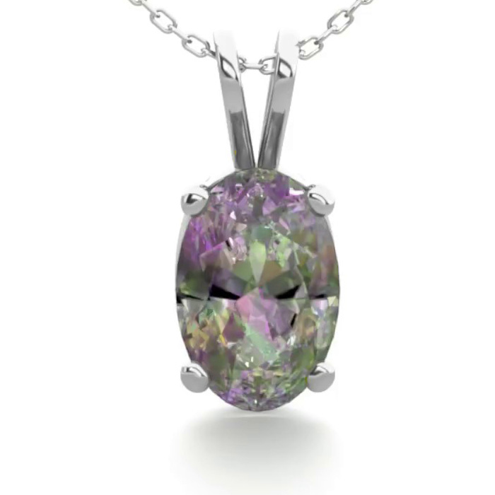 1/2 Carat Oval Shape Mystic Topaz Necklace In Sterling Silver, 18 Inches