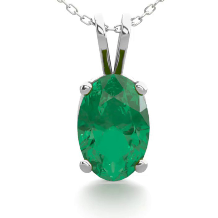 1/2 Carat Oval Shape Emerald Necklace In Sterling Silver, 18 Inches