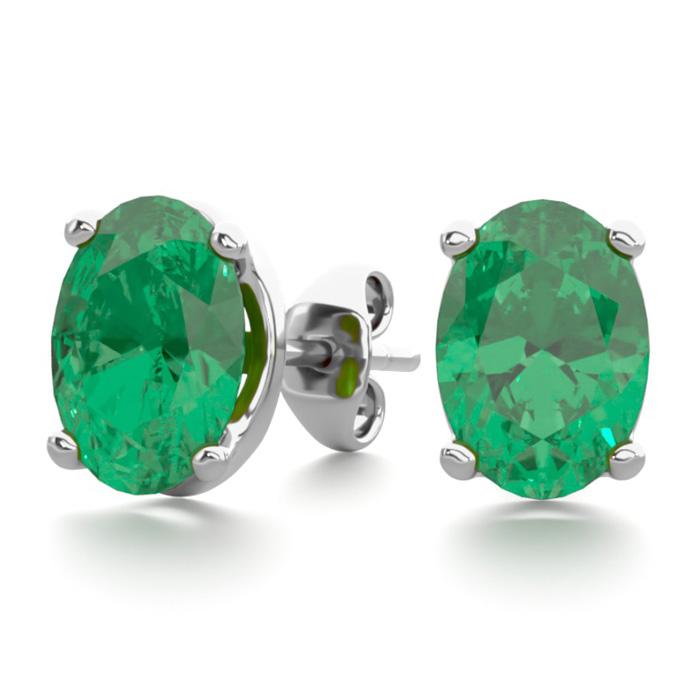1 1/2 Carat Oval Shape Emerald Stud Earrings In Sterling Silver