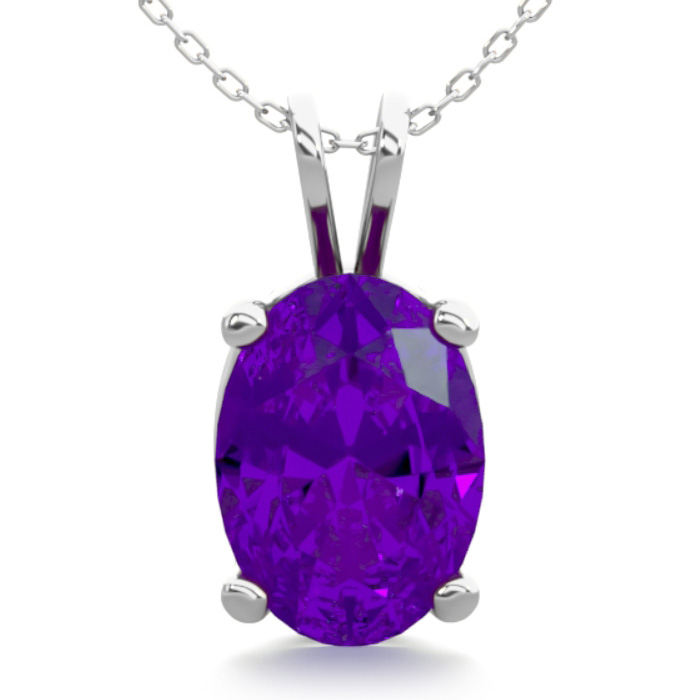 3/4 Carat Oval Shape Amethyst Necklace In Sterling Silver, 18 Inches