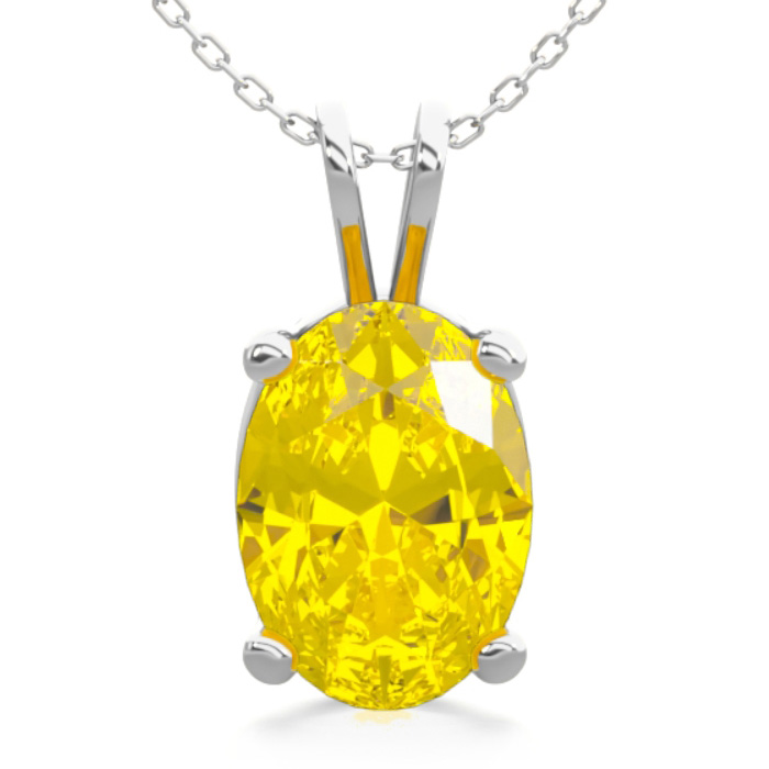 3/4 Carat Oval Shape Citrine Necklace In Sterling Silver, 18 Inches