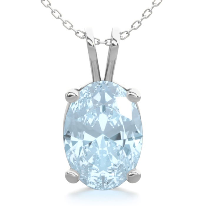 3/4 Carat Oval Shape Aquamarine Necklace In Sterling Silver, 18 Inches