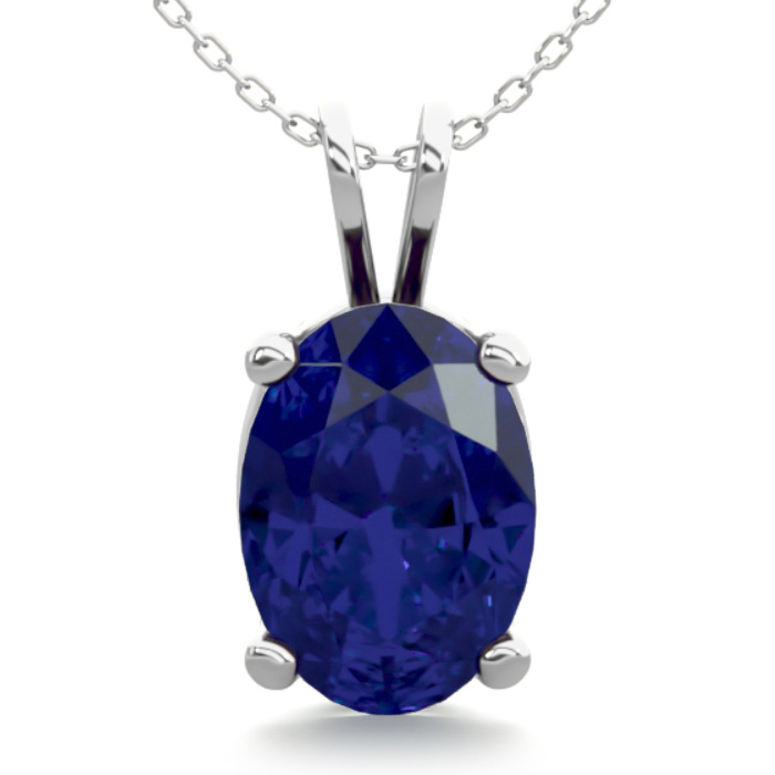 1 Carat Oval Shape Sapphire Necklace In Sterling Silver, 18 Inches
