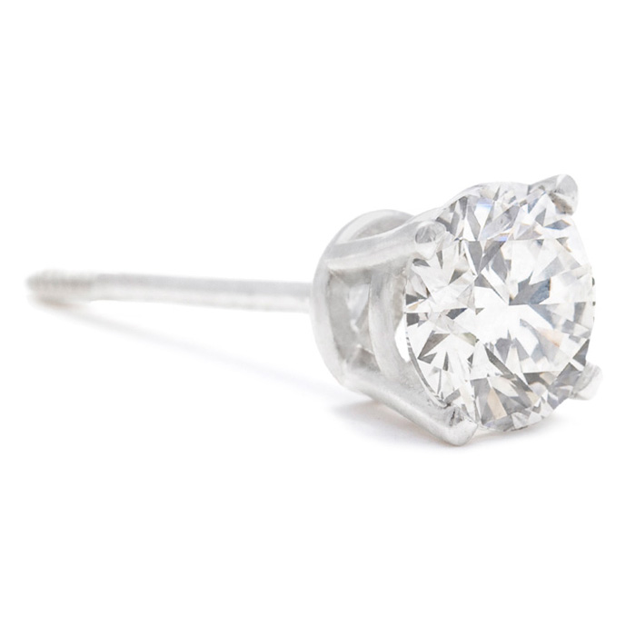 3/4ct Diamond Studs in 14k White Gold SINGLE STUD ONLY