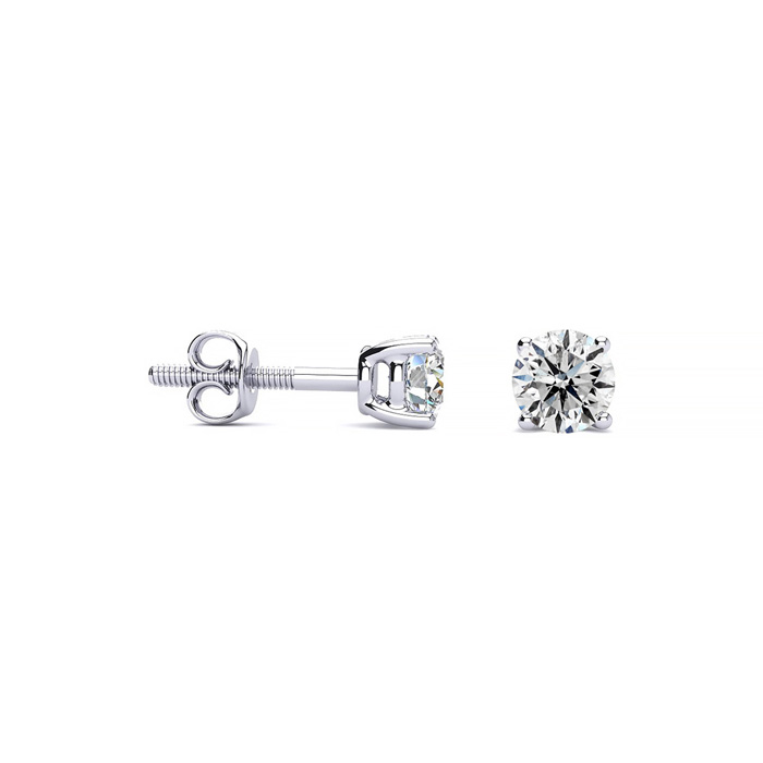 Colorless 1/4 Carat Diamond Stud Earrings in 14k White Gold