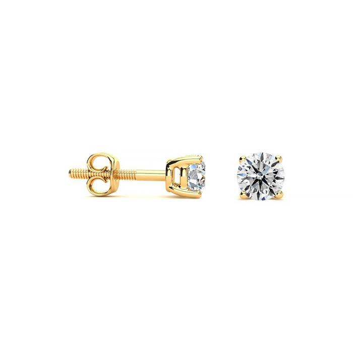Colorless 1/4 Carat Diamond Stud Earrings in 14k Yellow Gold