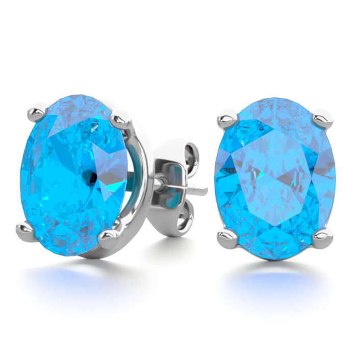 3 Carat Oval Shape Blue Topaz Stud Earrings In Sterling Silver