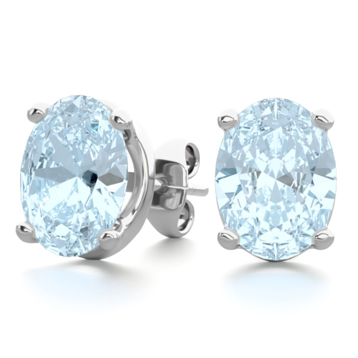 2 1/3 Carat Oval Shape Aquamarine Stud Earrings In Sterling Silver