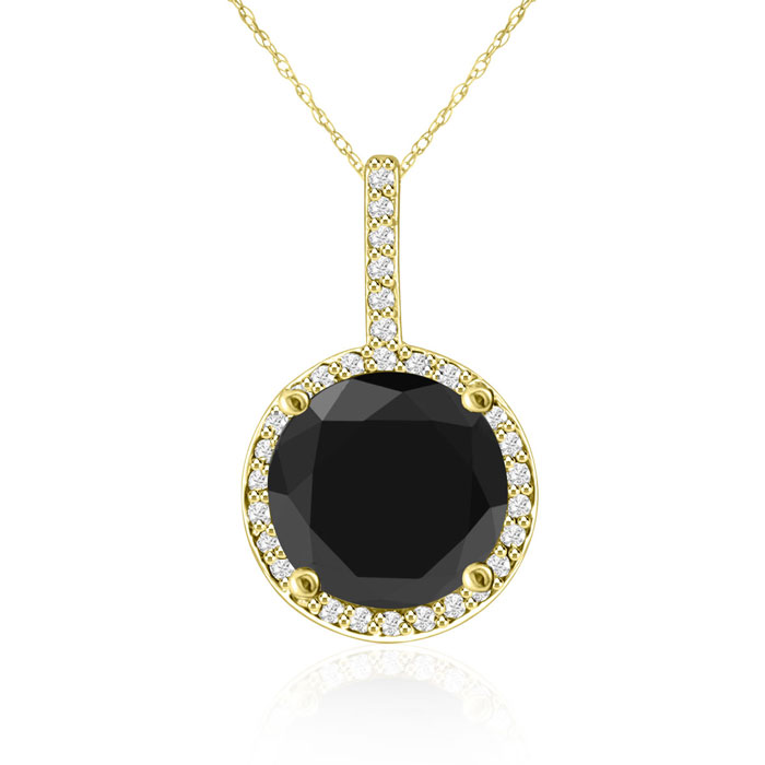 4 1/4 Carat Black and White Diamond Halo Necklace In 14 Karat Yellow Gold