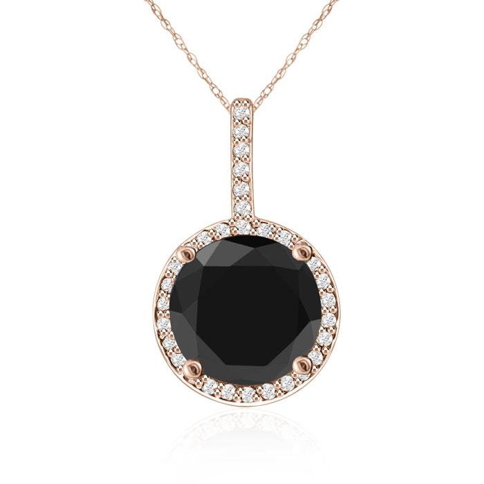 4 1/4 Carat Black and White Diamond Halo Necklace In 14 Karat Rose Gold