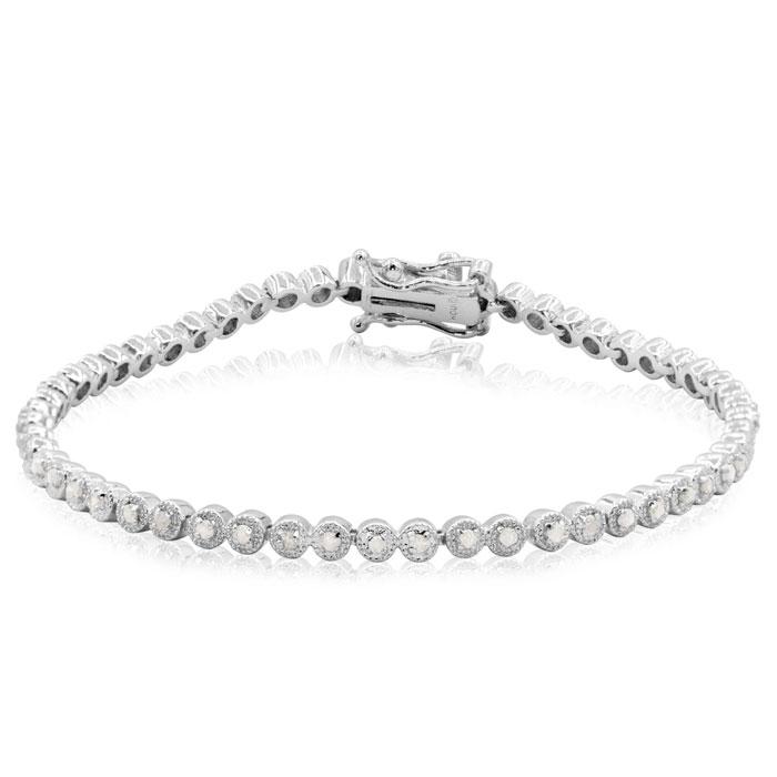 1/2 Carat Classic Round Diamond Tennis Bracelet In Platinum Overlay