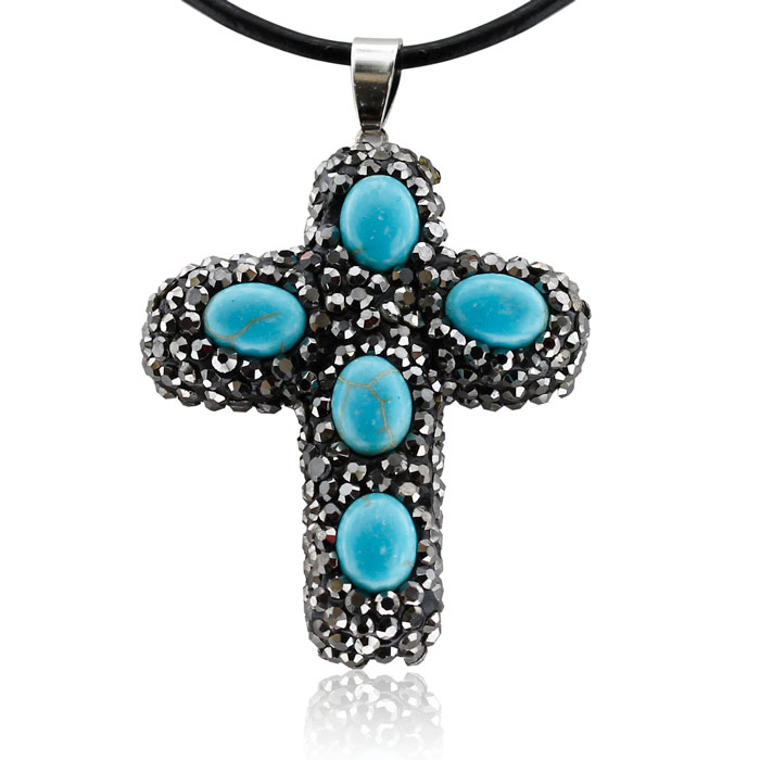Turquoise and Crystal Reversible Cross Necklace With Black Leather Cord Chai..