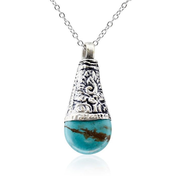 Antique Turquoise Tribal Teardrop Necklace With Sterling Silver Chain, 18 Inches