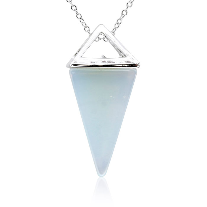 Sterling Silver Opal Geo Prism Necklace, 18 Inches