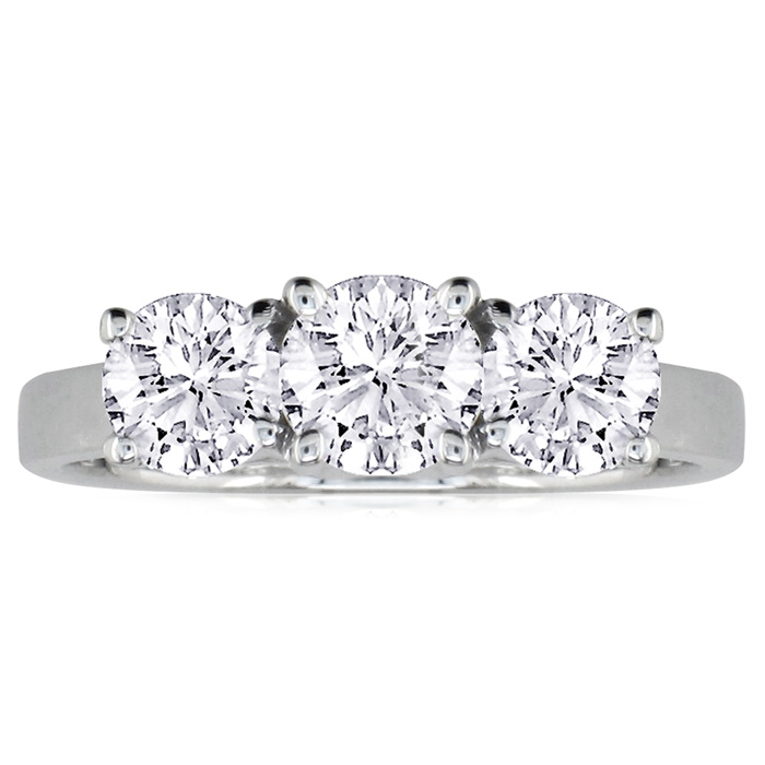 1/4ct Three Diamond Ring in 18k White Gold