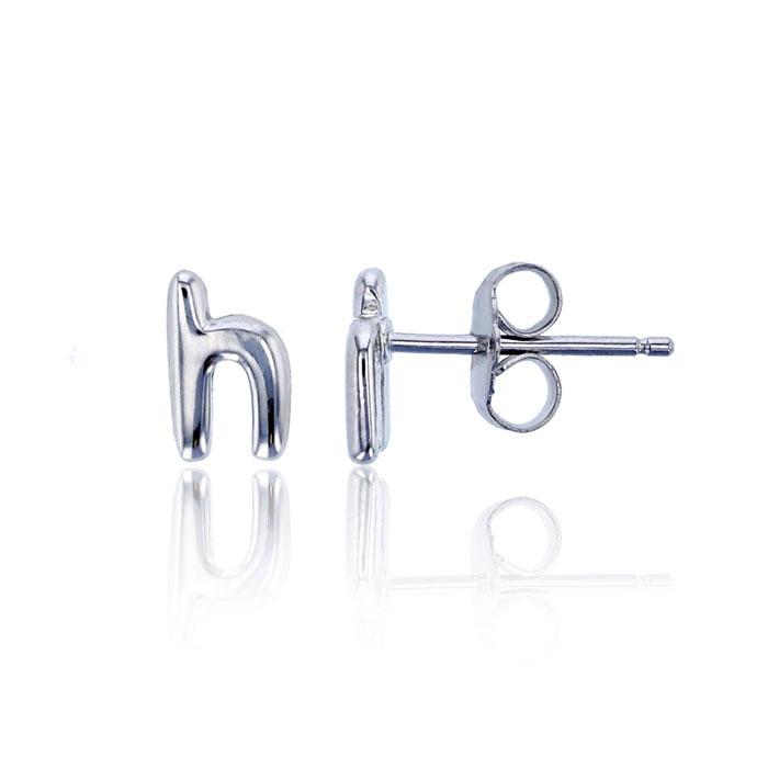 Sterling Silver Lowercase H Initial Stud Earrings